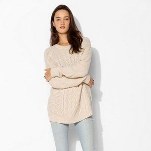 UO BDG Fall for Cable Elbow Patch Knit Sweater XS